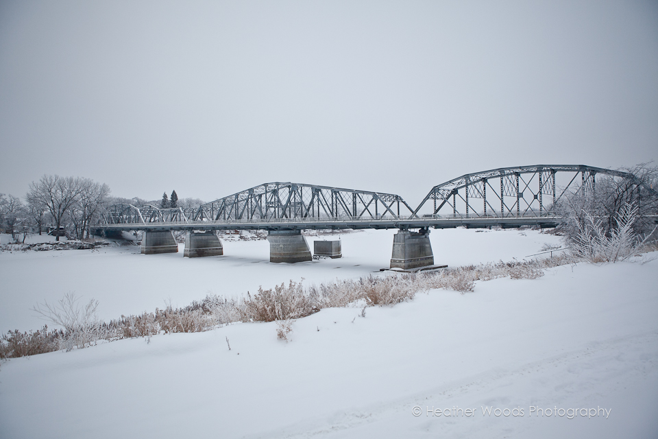 winter scene bridge photography winnipeg
